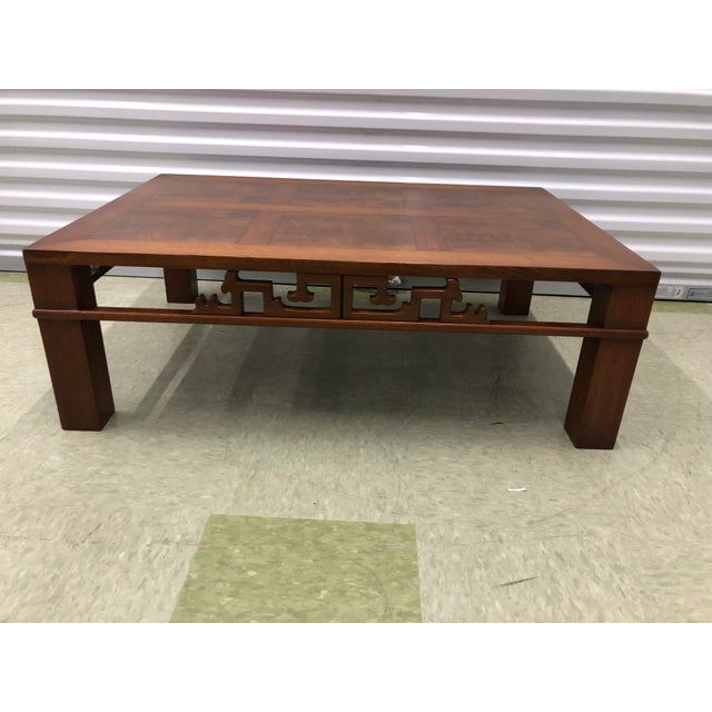 Mid Century Modern Chinese Styled Mahogany Coffee Or Cocktail Table By Heritage Henredon Features Segmented