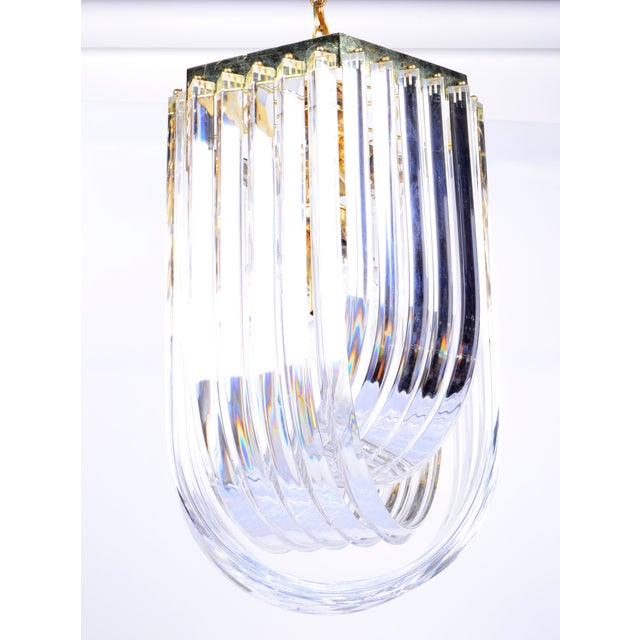 Lucite Ribbon Chandelier With Canopy For Sale - Image 11 of 11