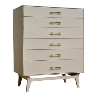 White Lacquered and Brass Dresser by Rway For Sale