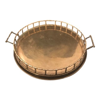 Large Mid-Century Brass Faux Bamboo Tray For Sale
