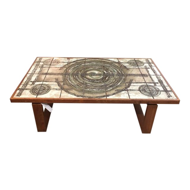 Danish Tile/Teak Coffee Table For Sale