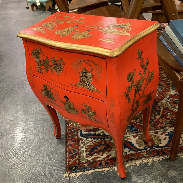 Art Deco 20th Century Asian Red Hand Painted Accent Table For Sale - Image 3 of 8