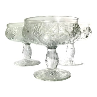 Vintage French Pressed Glass Coupe Champagne/Sorbet Glasses-Set of Three For Sale