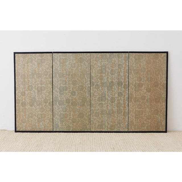 Japanese Four-Panel Screen Prunus Tree With Nandina For Sale - Image 12 of 13