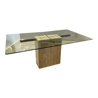Mid-Century Modern Ello Travertine Dining Table For Sale