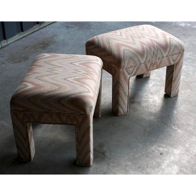 Textile 1980s Contemporary Flamestitch Parsons Ottomans, a Pair For Sale - Image 7 of 10