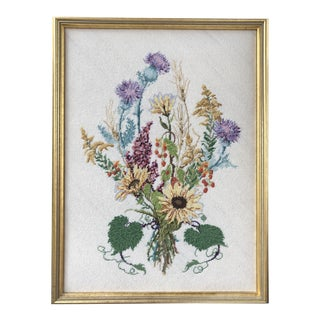 Floral Bouquet Petite Needlepoint in Frame