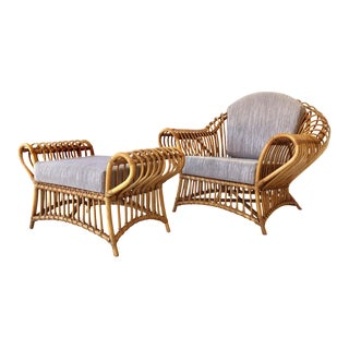 Franco Albini Rattan Chair and Ottoman Set, 1980s For Sale