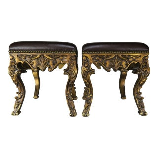 Pair of French Louis XV Leather Benches, Circa 1950s For Sale