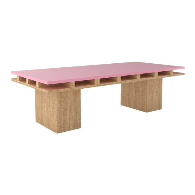 Contemporary 101C Coffee Table in Oak and Pink by Orphan Work, 2020 For Sale