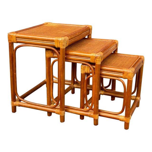 Leather Wrapped Rattan Nesting Tables - Set of 3 For Sale