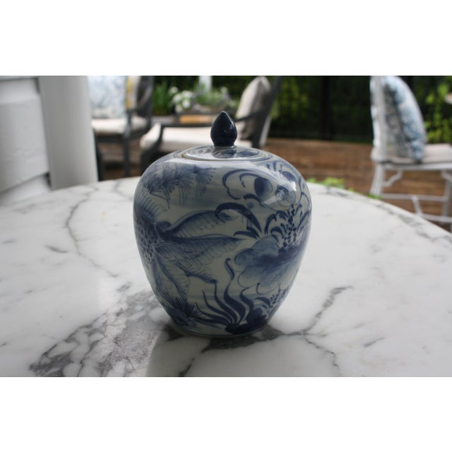 Asian Vintage Blue and White Decorative Ginger Jar with Lid For Sale - Image 3 of 7