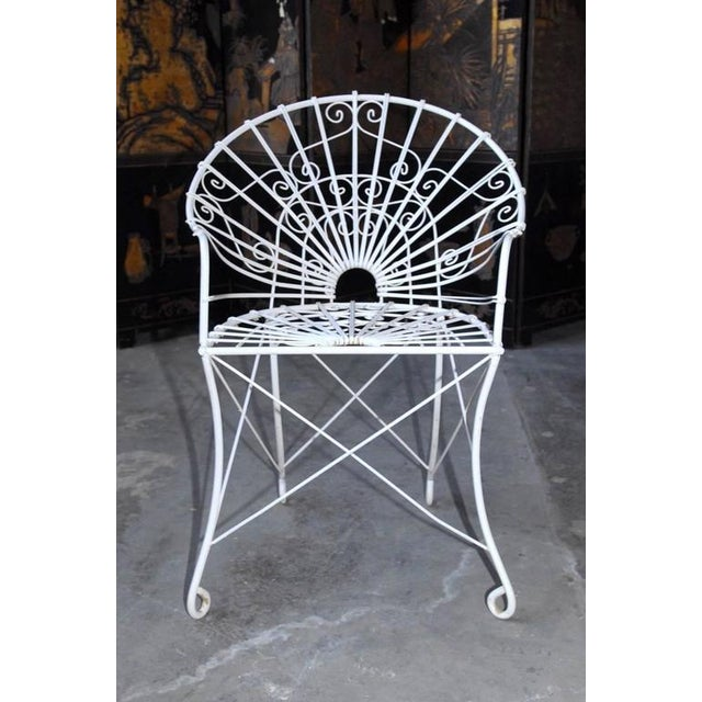 French Wrought Iron and Wire Garden Patio Set For Sale - Image 9 of 10