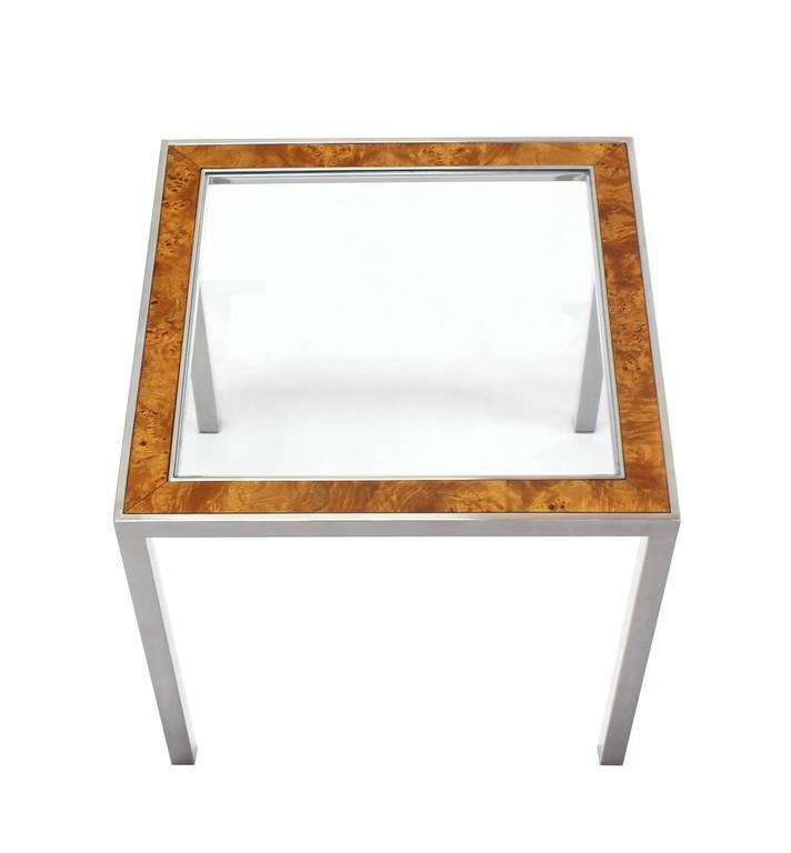 Chrome Burl Wood Glass Square Side Table   Image 2 Of 7
