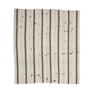 Vintage Black & White Striped Kilim Rug-7′9″ × 8′10″ For Sale