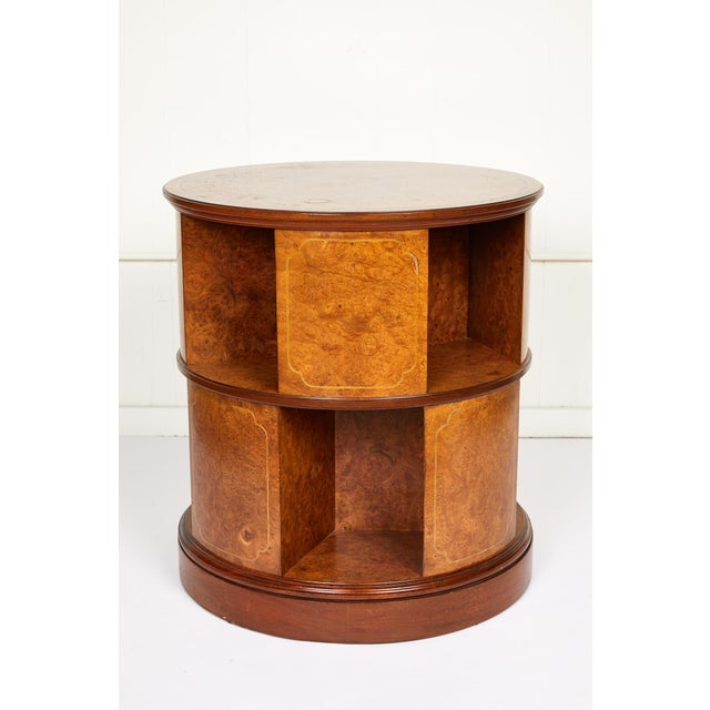 Early 20th century English circular rotating library cabinet or side table made of bird's-eye maple and mahogany with...
