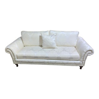 Ethan Allen White Traditional Sofa With Gold Nailheads For Sale