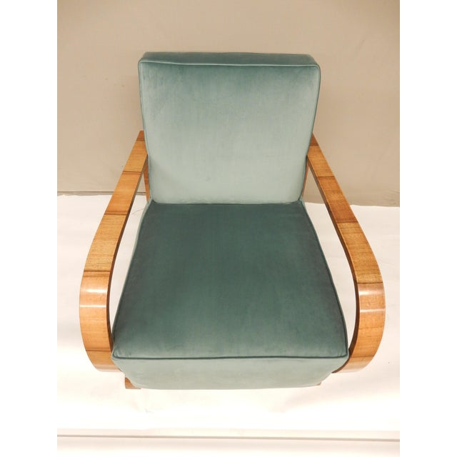 1930's Art Deco Upholstered Walnut Armchairs - a Pair For Sale In New Orleans - Image 6 of 7