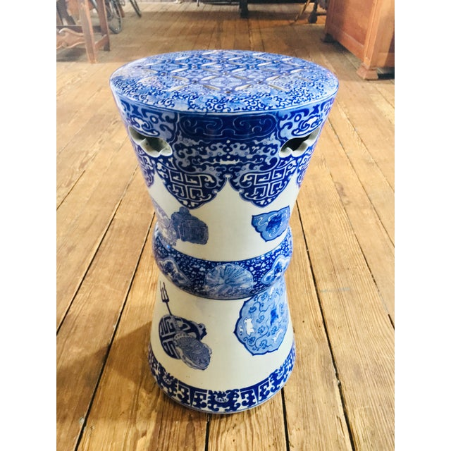 19th Century Antique Glazed Terracotta Chinese Blue & White Garden Stool For Sale - Image 11 of 11