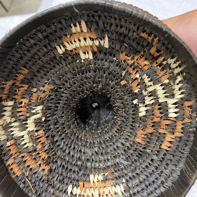 Black Handmade Tribal Woven Basket For Sale - Image 8 of 10