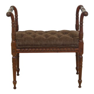 French Louis XV Style Carved Mahogany Bench Seat For Sale