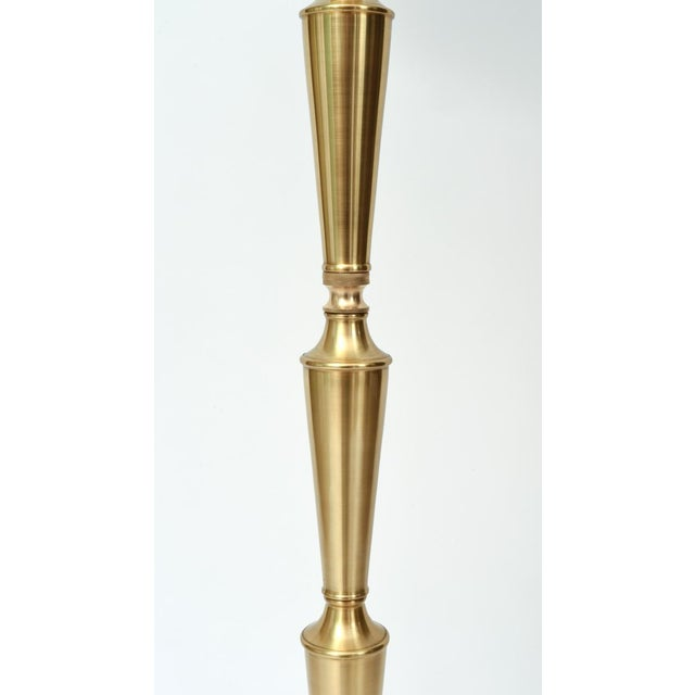 White Mid Century Modern Solid Brass Tall Floor Lamp For Sale - Image 8 of 12