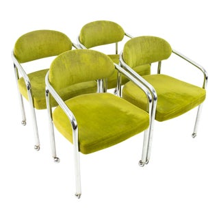 Mid Century Chrome Craft Dining Chairs in Green For Sale
