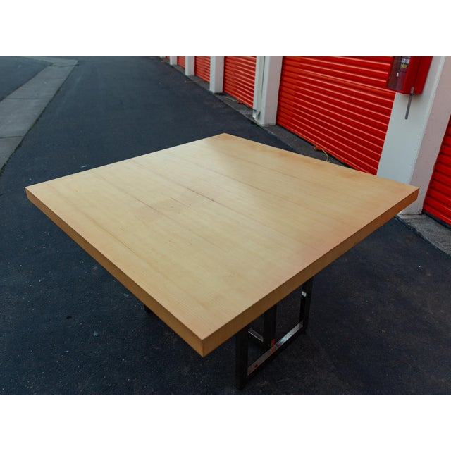 Mid-Century Modern Francois Langin Custom Wood and Chrome Dining Table For Sale - Image 9 of 12