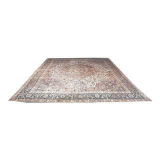 Early 20th Century Antique Distressed Persian Tabriz Rug - 8′9″ × 12′ For Sale