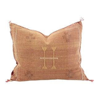 Rust & White Cactus Silk Pillow For Sale