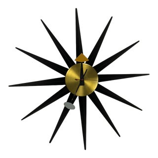 1950s George Nelson Original Howard Miller Model 2202 Sunburst Clock For Sale