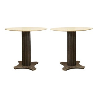 Two Limestone Top Iron Tables For Sale