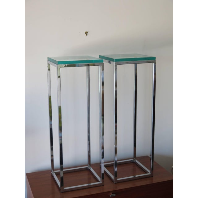 Metal 1970s Modern Tall Chrome Pedestal Tables - a Pair For Sale - Image 7 of 8