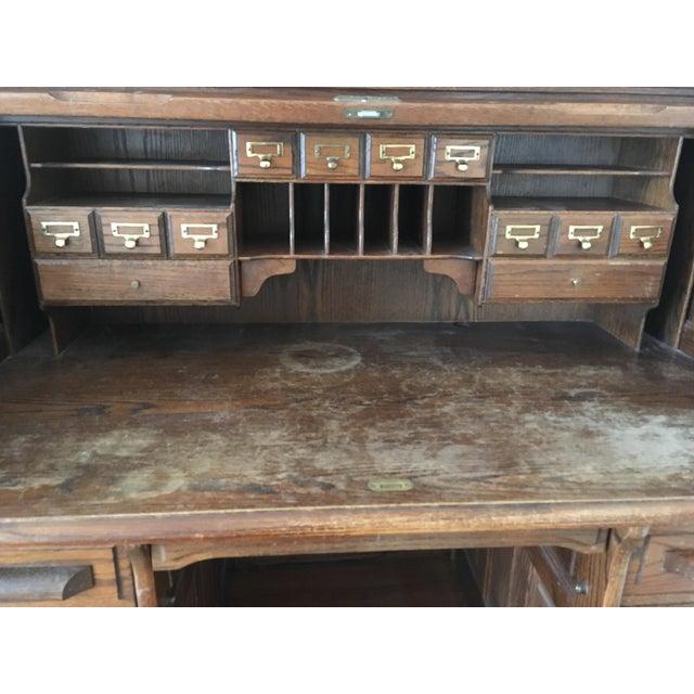 Oak Vintage Jefferson Rolltop Desk For Sale - Image 7 of 10