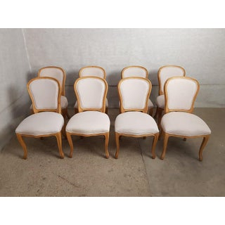 Set of 8 Louis XV French Natural Oak Dining Chairs Upholstered in Belgian Linen Preview