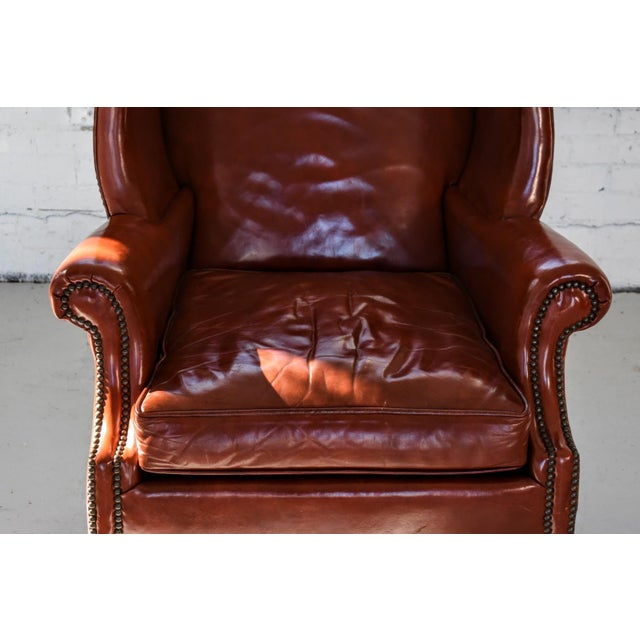 Red Vintage Marbled Red Leather Georgian H-Base Wingback Fireside Chairs - Pair For Sale - Image 8 of 13