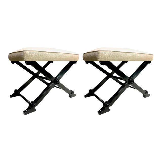 Pair of Neoclassic Chicest X-Shaped Stools For Sale