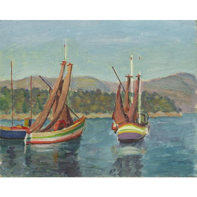 1970s 1970s Sailing Impressionist Style and Abstract Framed Paintings - Set of 7 For Sale - Image 5 of 12