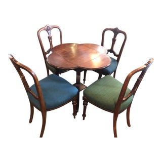 1910 4 Flap Game Table and 4 Parlor Chairs - 5 Pieces For Sale