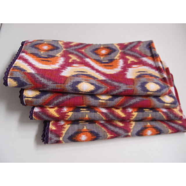 Abstract Plum Ikat Napkins - Set of 4 For Sale - Image 3 of 9