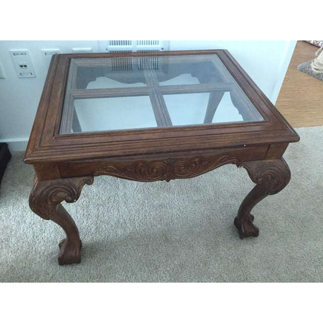 Vintage Glass Top Wood Carved Claw Foot Table - Image 2 of 3