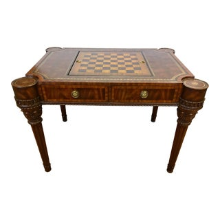 Maitland-Smith Carved Mahogany Game Table With Leather Top For Sale