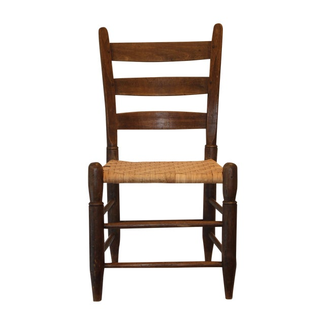 Rustic Ladder Back Chair With Split Oak Seat - Image 1 of 7