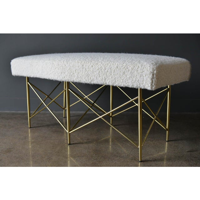 Hollywood Regency 1970s Ivory Bouclé and Brass X-Base Ottoman Bench For Sale - Image 3 of 12
