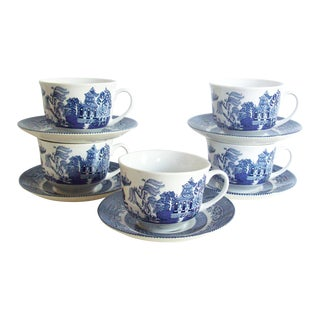 Blue Willow Teacups & Saucers - Set of 5 For Sale