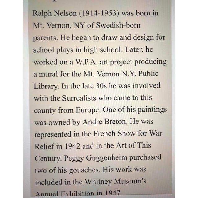Vintage Original Miniature Ralph Nelson Abstract Painting Vintage Frame 1950's For Sale - Image 4 of 6