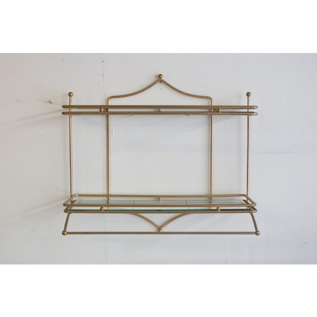Mid-Century Brass and Glass Hanging Wall Shelf For Sale - Image 4 of 4