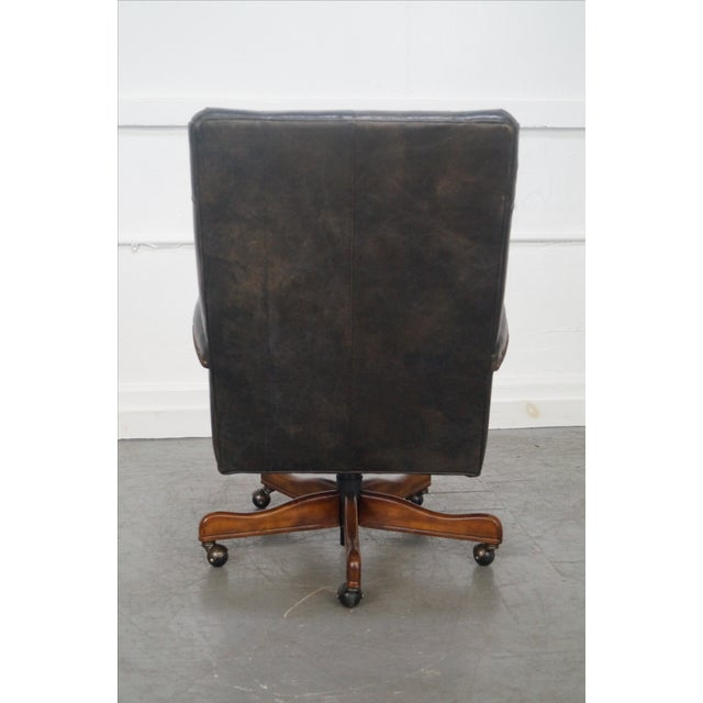 Tufted Leather Executive Office Arm Chair - Image 5 of 8