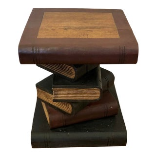 Carved Wood Stacked Books Side Table For Sale