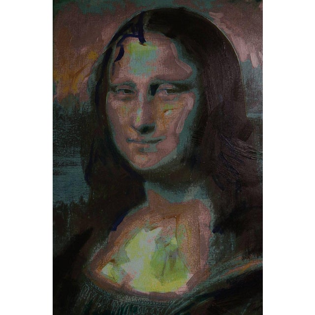 1980s Giclee on Canvas Painting of Warhol's Mona Lisa For Sale - Image 5 of 12